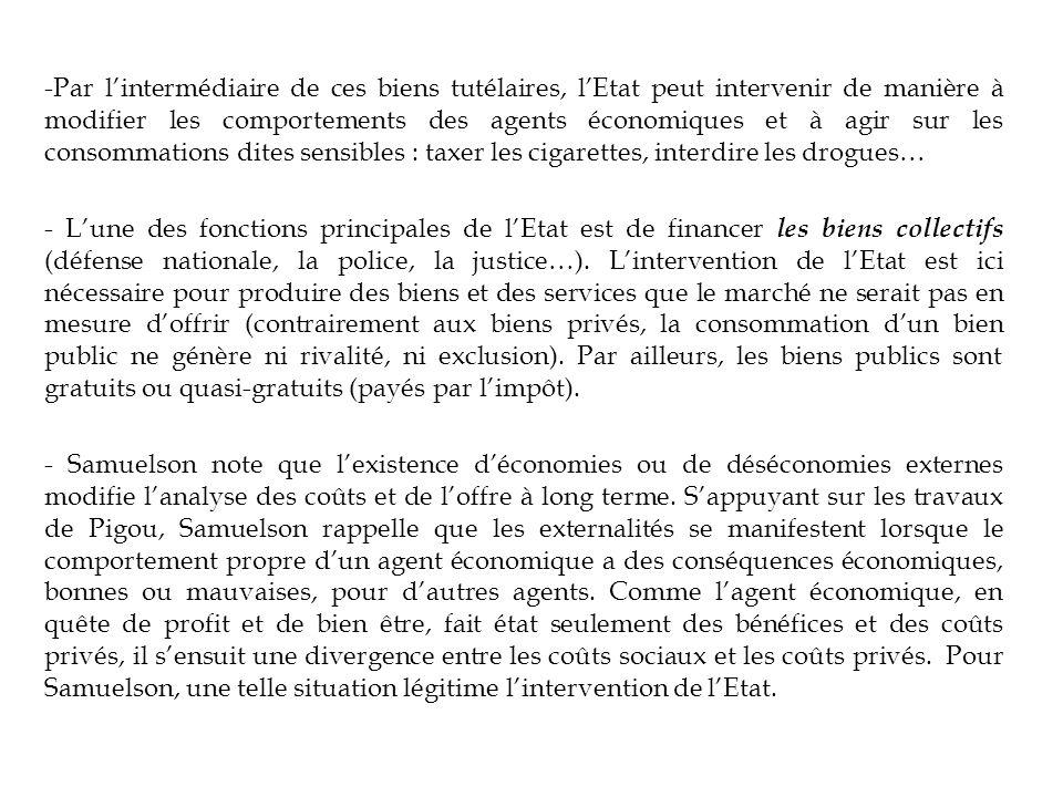 Par l'intermédiaire de ces biens tutélaires, l'Etat peut intervenir de manière à modifier les comportements des agents économiques et à agir sur les consommations dites sensibles : taxer les cigarettes, interdire les drogues…