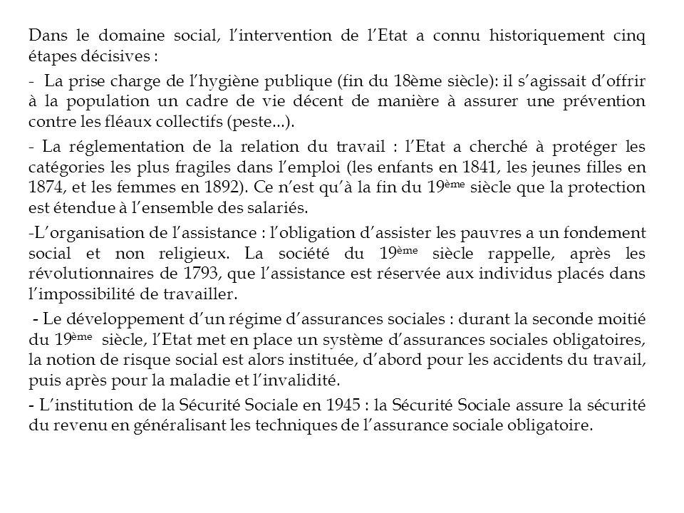 Dans le domaine social, l'intervention de l'Etat a connu historiquement cinq étapes décisives :
