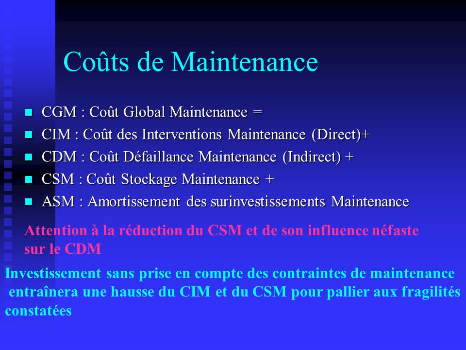 Coûts de Maintenance CGM : Coût Global Maintenance =