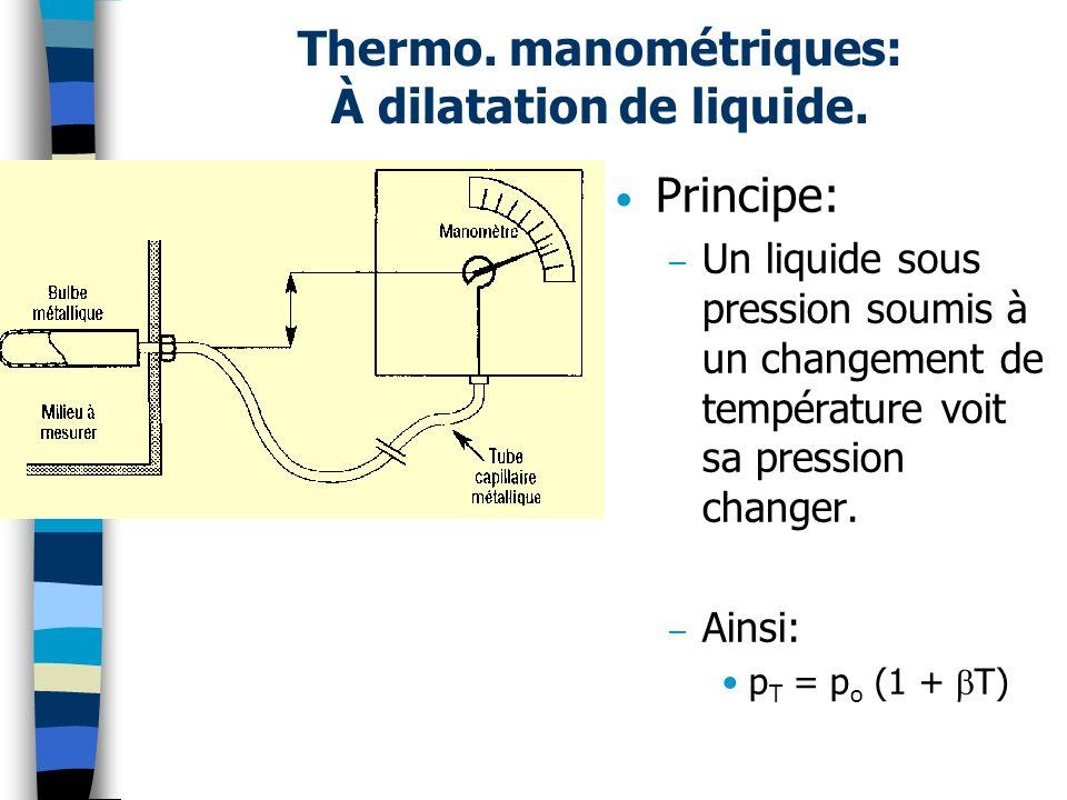 Thermo. manométriques: À dilatation de liquide.