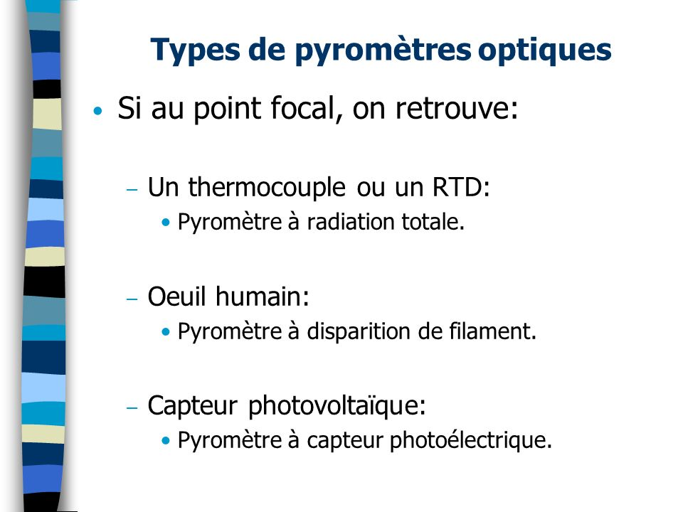 Types de pyromètres optiques