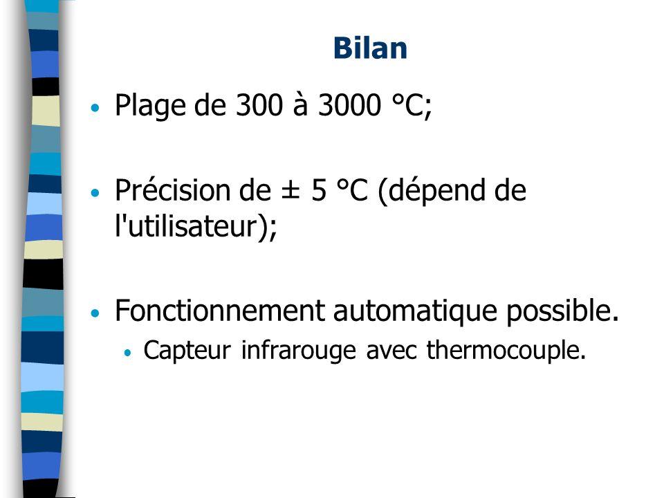 Précision de ± 5 °C (dépend de l utilisateur);