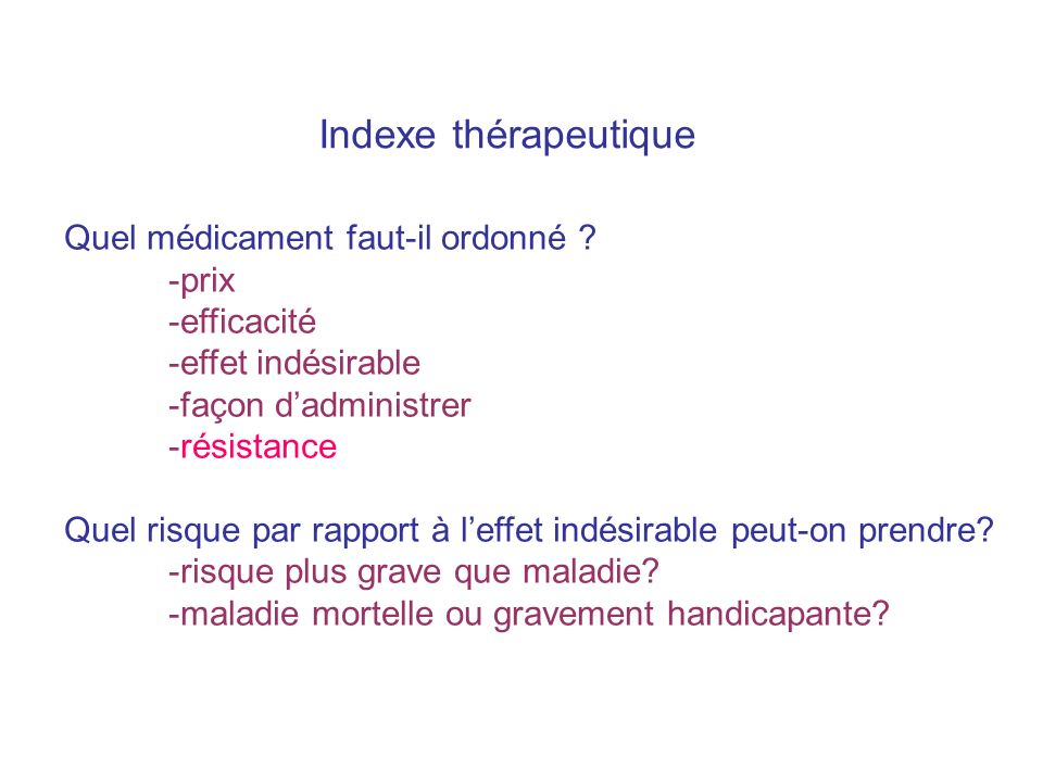 Indexe thérapeutique Quel médicament faut-il ordonné -prix