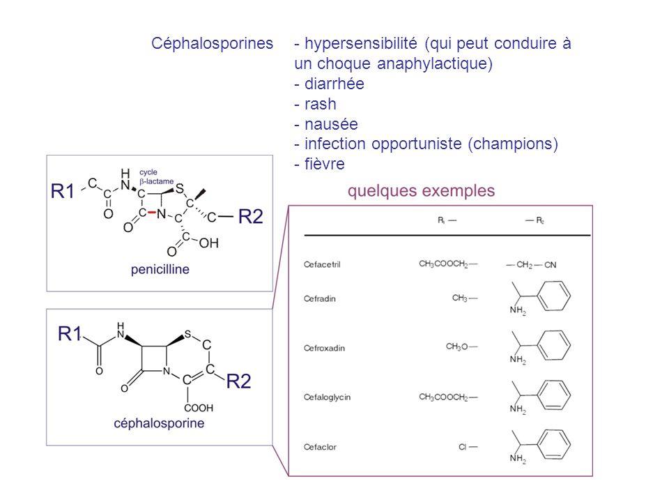 Céphalosporines - hypersensibilité (qui peut conduire à. un choque anaphylactique) - diarrhée. - rash.