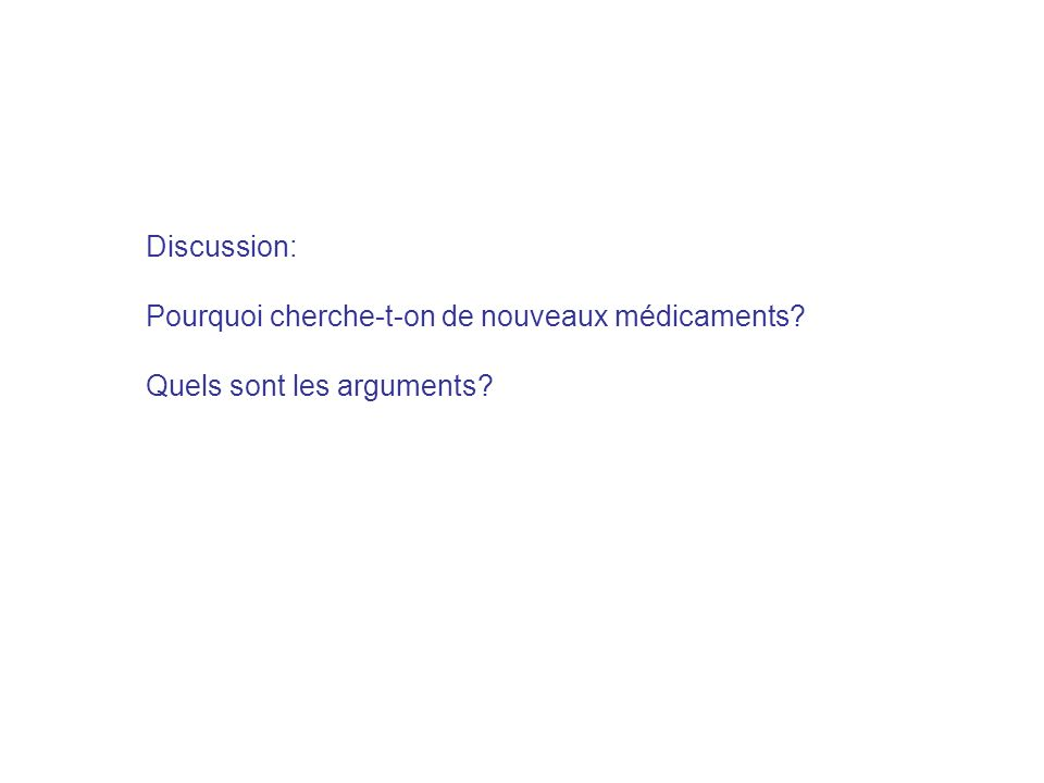 Discussion: Pourquoi cherche-t-on de nouveaux médicaments Quels sont les arguments
