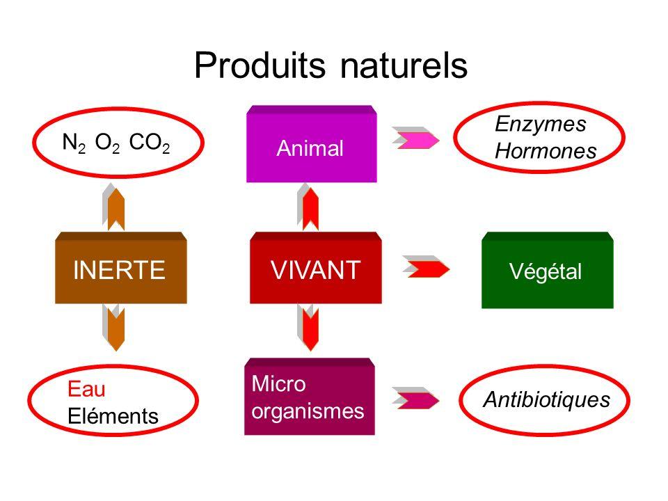 Produits naturels Animal INERTE VIVANT Végétal Enzymes Hormones