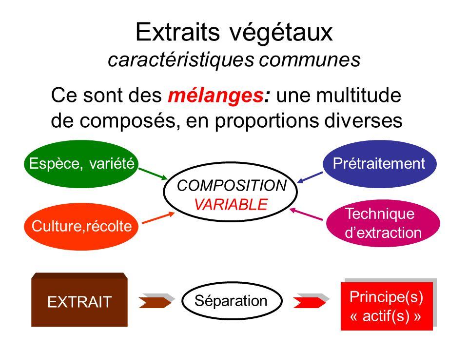Extraits végétaux caractéristiques communes