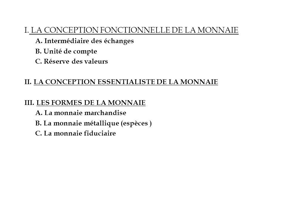 I. LA CONCEPTION FONCTIONNELLE DE LA MONNAIE
