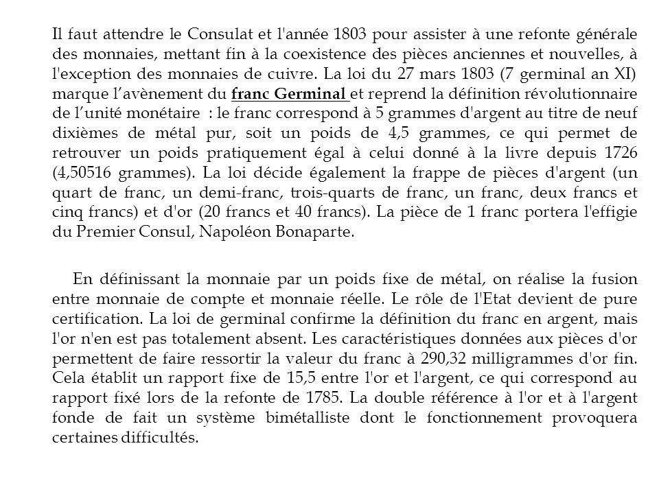 Il faut attendre le Consulat et l année 1803 pour assister à une refonte générale des monnaies, mettant fin à la coexistence des pièces anciennes et nouvelles, à l exception des monnaies de cuivre.