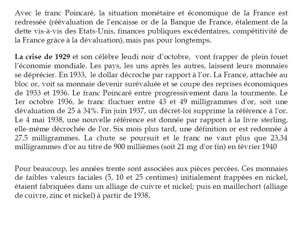 Avec le franc Poincaré, la situation monétaire et économique de la France est redressée (réévaluation de l'encaisse or de la Banque de France, étalement de la dette vis-à-vis des Etats-Unis, finances publiques excédentaires, compétitivité de la France grâce à la dévaluation), mais pas pour longtemps.