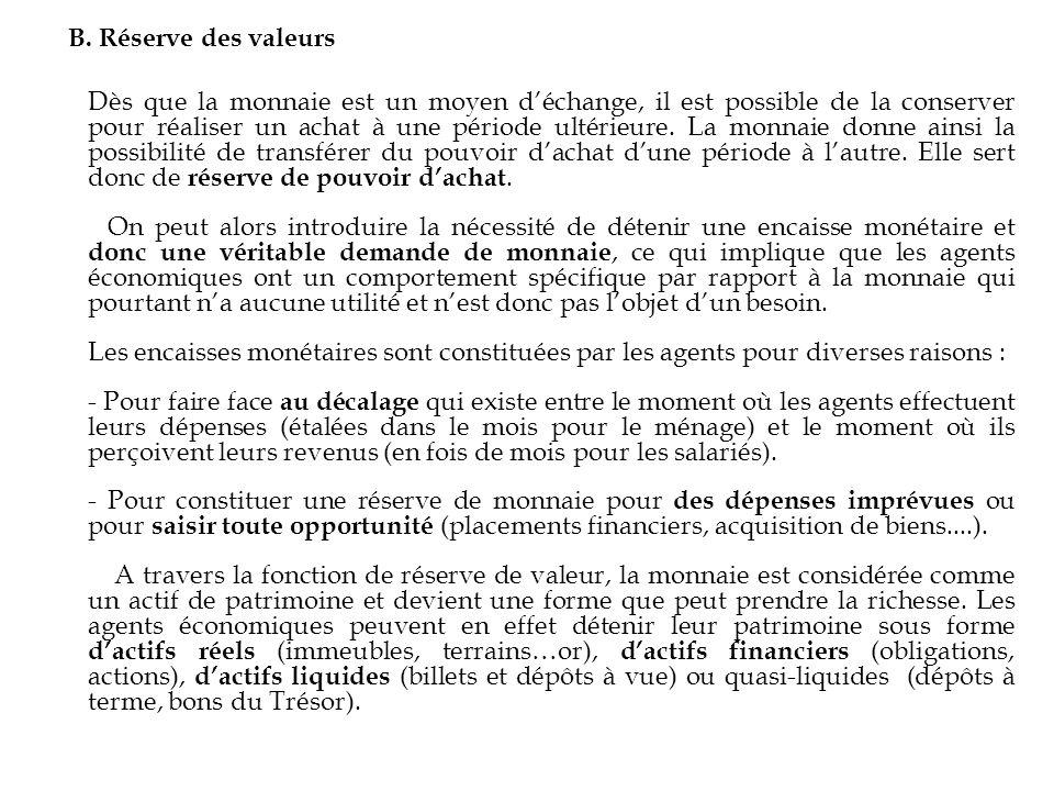 B. Réserve des valeurs