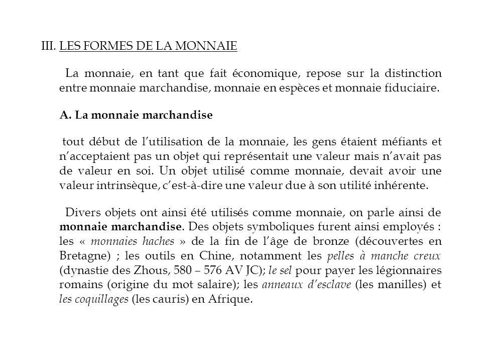III. LES FORMES DE LA MONNAIE