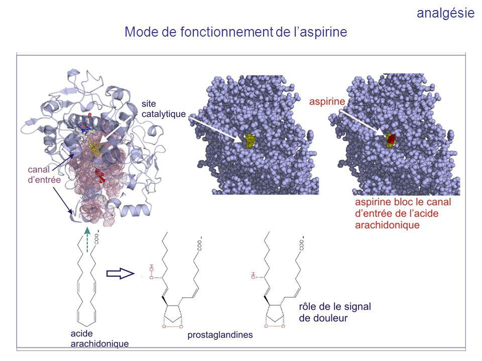 analgésie Mode de fonctionnement de l'aspirine