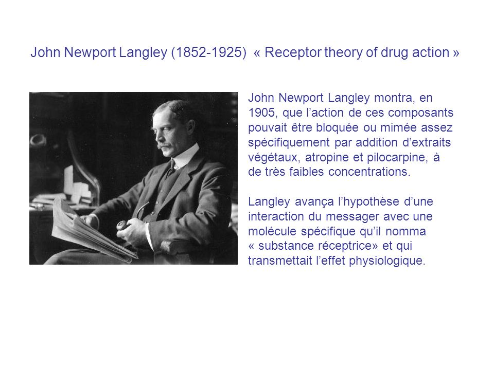 John Newport Langley ( ) « Receptor theory of drug action »