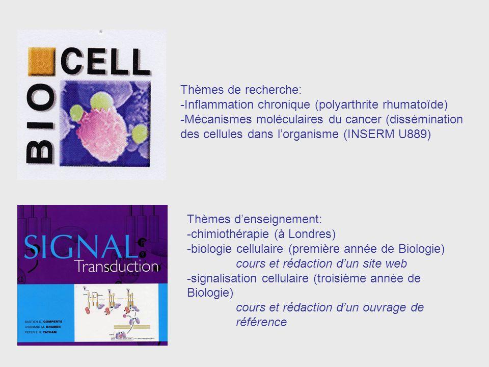 Thèmes de recherche: -Inflammation chronique (polyarthrite rhumatoïde)