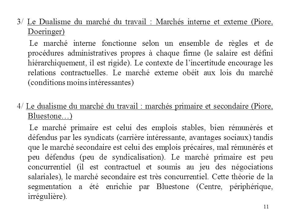 3/ Le Dualisme du marché du travail : Marchés interne et externe (Piore, Doeringer)