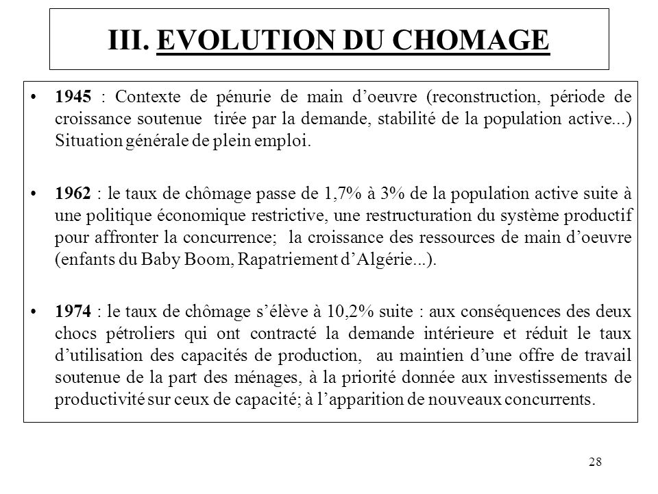 III. EVOLUTION DU CHOMAGE