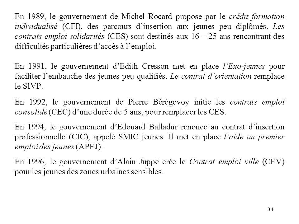 En 1989, le gouvernement de Michel Rocard propose par le crédit formation individualisé (CFI), des parcours d'insertion aux jeunes peu diplômés.