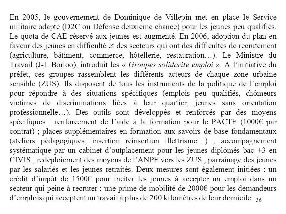 En 2005, le gouvernement de Dominique de Villepin met en place le Service militaire adapté (D2C ou Défense deuxième chance) pour les jeunes peu qualifiés.