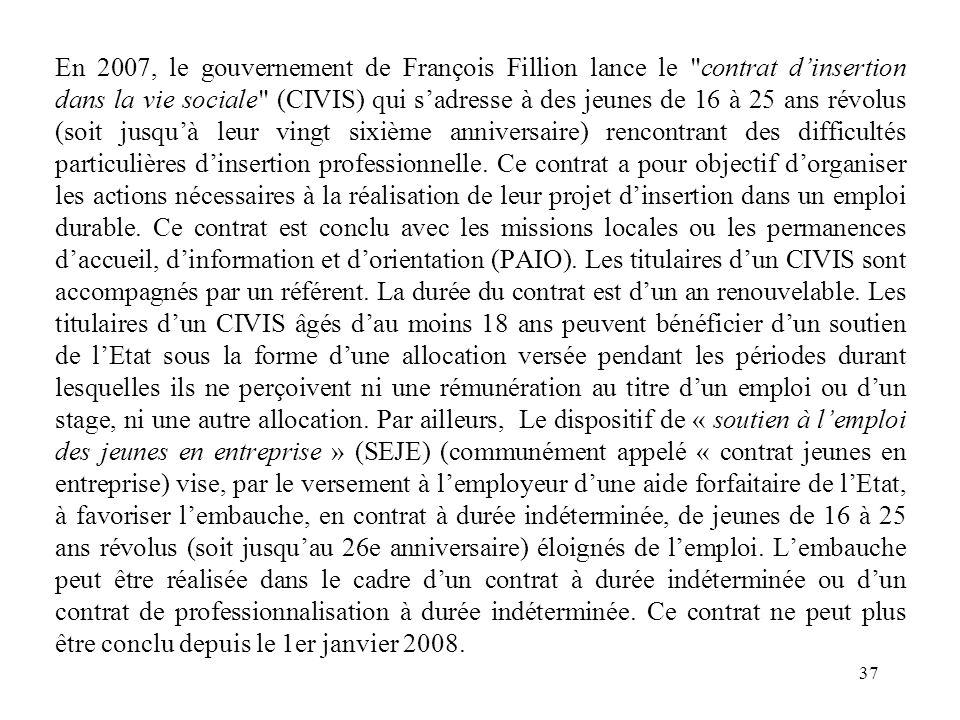 En 2007, le gouvernement de François Fillion lance le contrat d'insertion dans la vie sociale (CIVIS) qui s'adresse à des jeunes de 16 à 25 ans révolus (soit jusqu'à leur vingt sixième anniversaire) rencontrant des difficultés particulières d'insertion professionnelle.