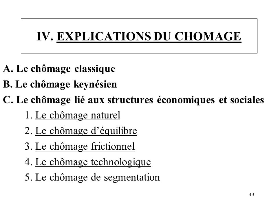 IV. EXPLICATIONS DU CHOMAGE