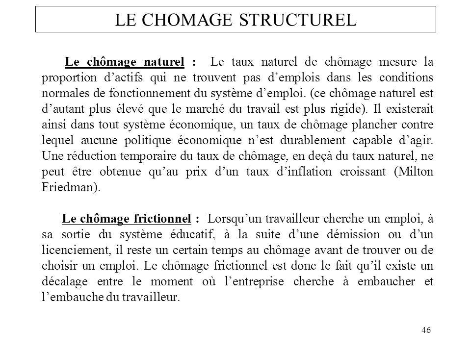 LE CHOMAGE STRUCTUREL