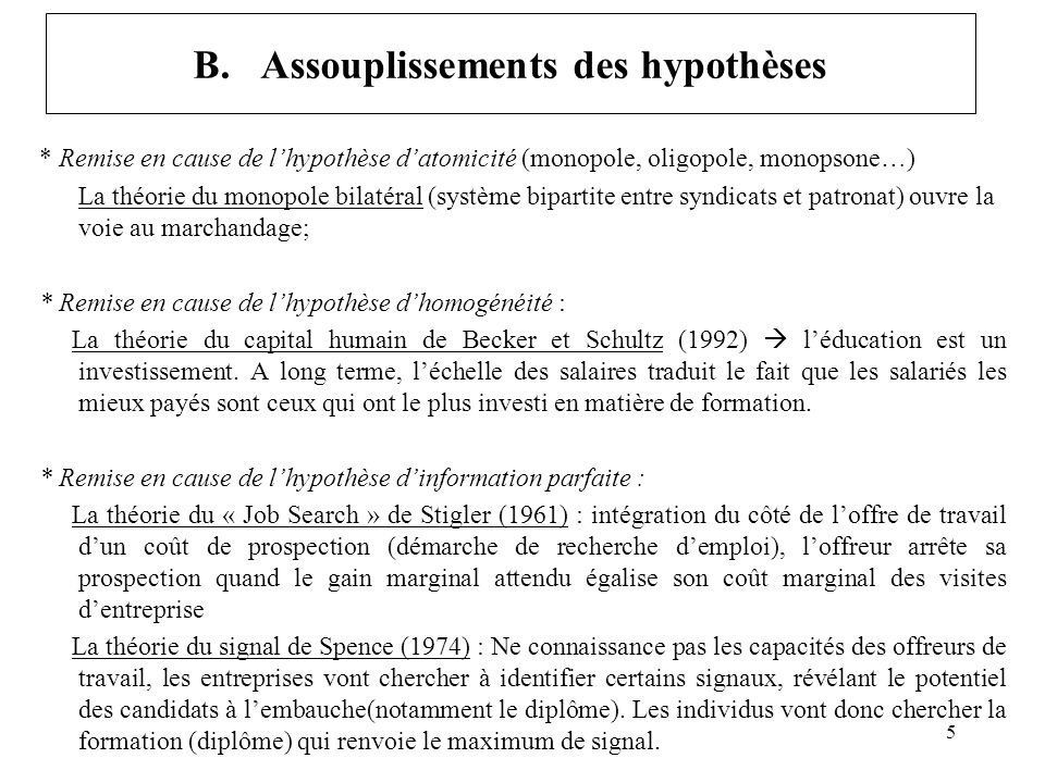 B. Assouplissements des hypothèses