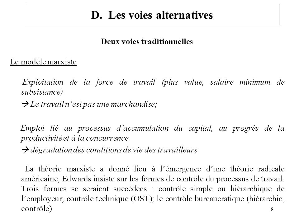 D. Les voies alternatives
