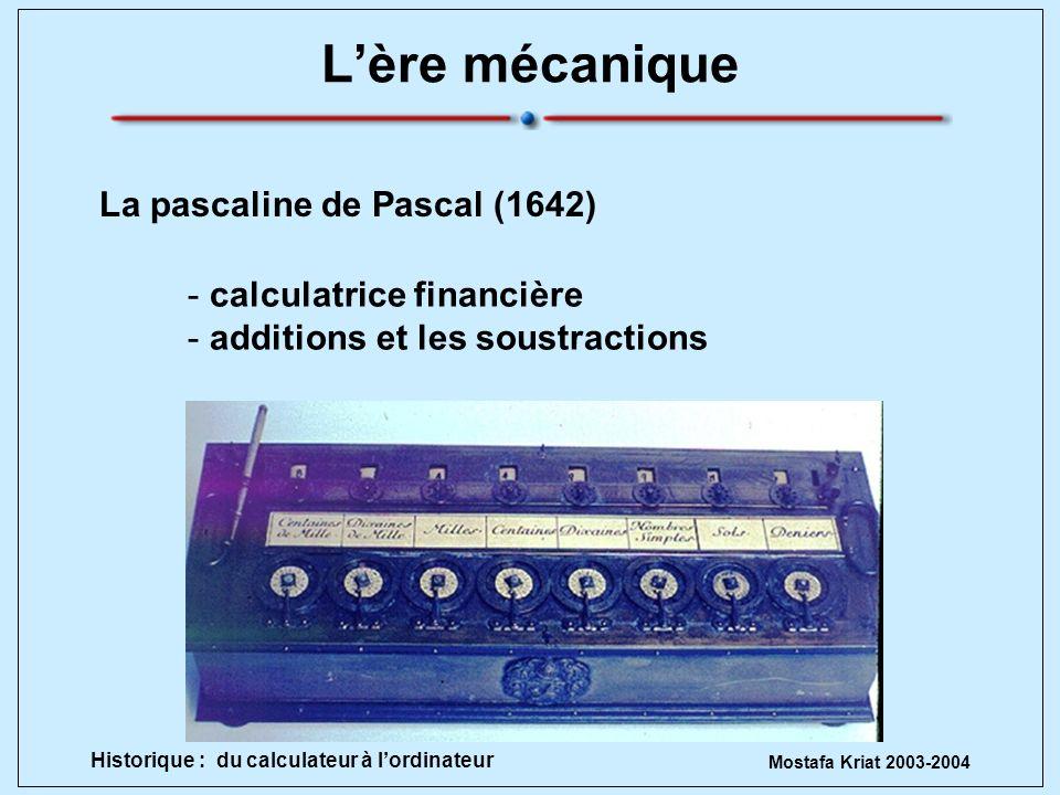 L'ère mécanique La pascaline de Pascal (1642) calculatrice financière