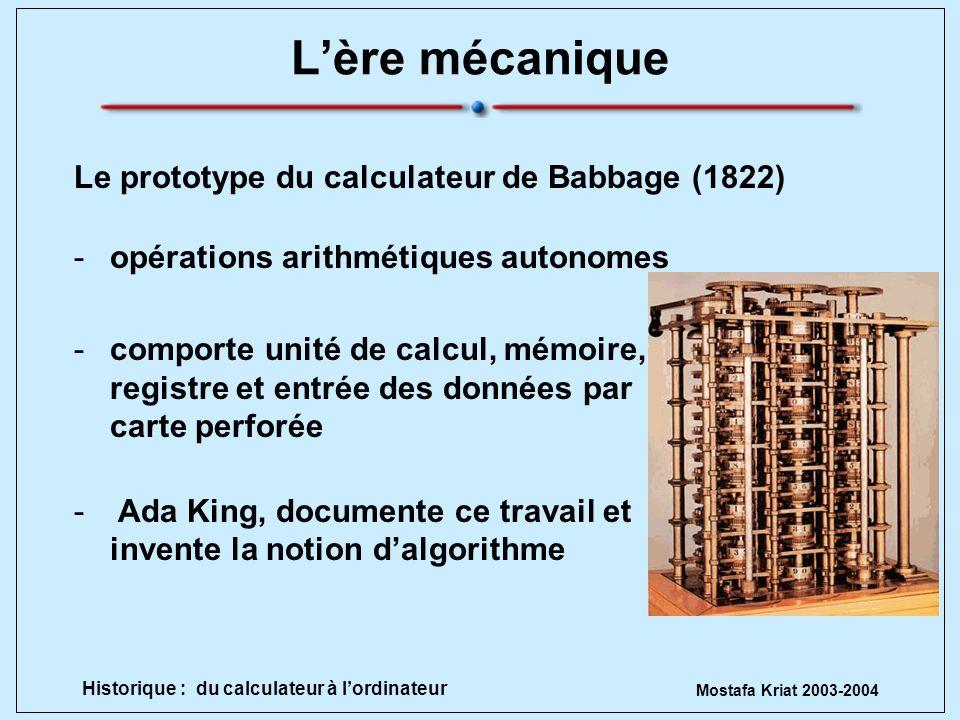 L'ère mécanique Le prototype du calculateur de Babbage (1822)