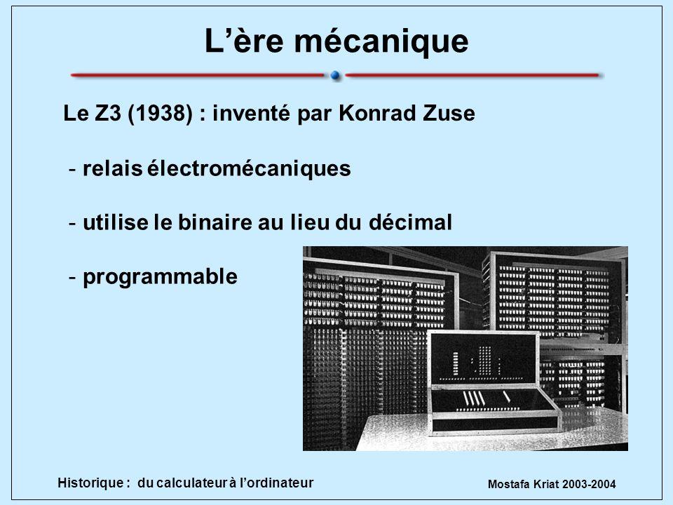 L'ère mécanique Le Z3 (1938) : inventé par Konrad Zuse