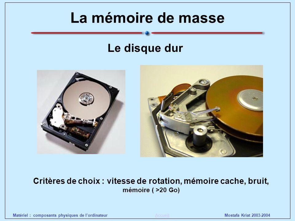 La mémoire de masse Le disque dur