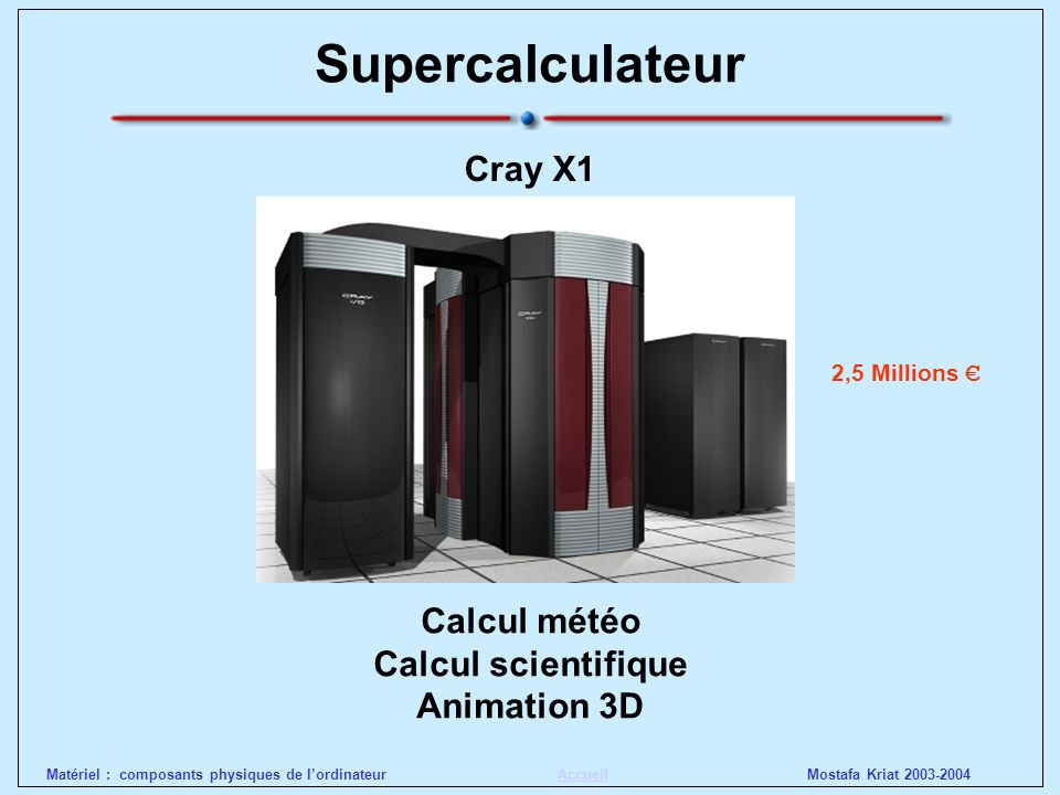 Supercalculateur Cray X1 Calcul météo Calcul scientifique Animation 3D
