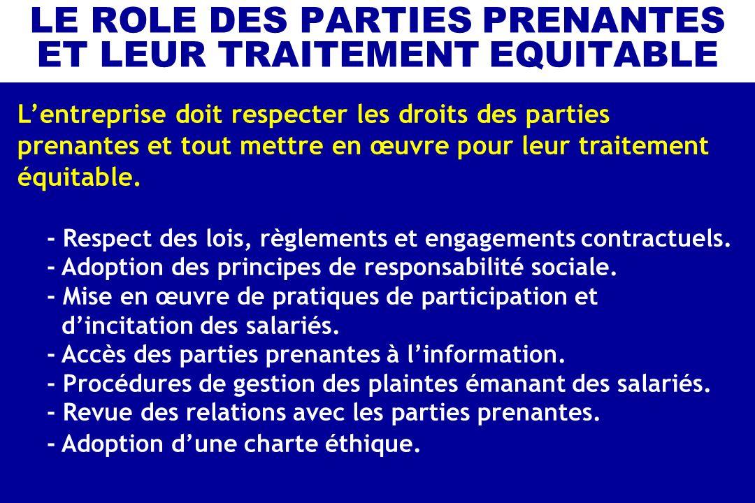 LE ROLE DES PARTIES PRENANTES ET LEUR TRAITEMENT EQUITABLE