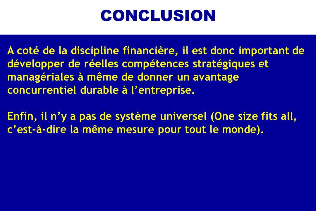 CONCLUSION A coté de la discipline financière, il est donc important de. développer de réelles compétences stratégiques et.