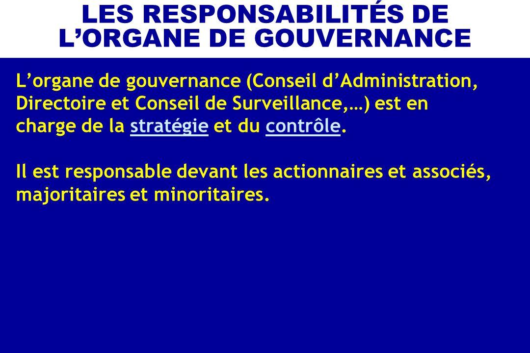 LES RESPONSABILITÉS DE L'ORGANE DE GOUVERNANCE