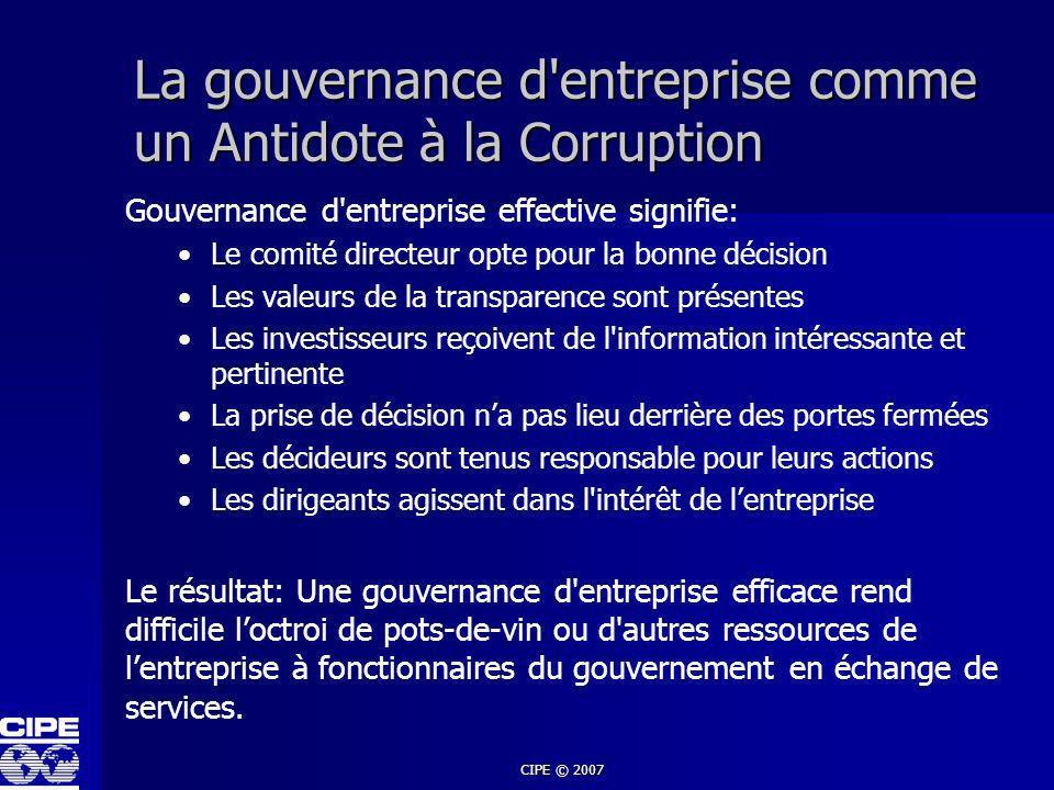 La gouvernance d entreprise comme un Antidote à la Corruption