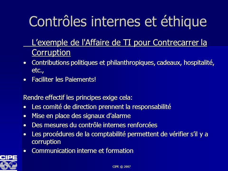 Contrôles internes et éthique