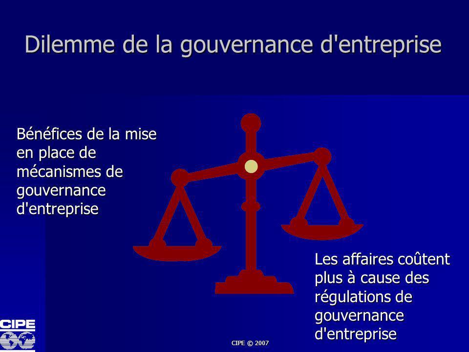 Dilemme de la gouvernance d entreprise