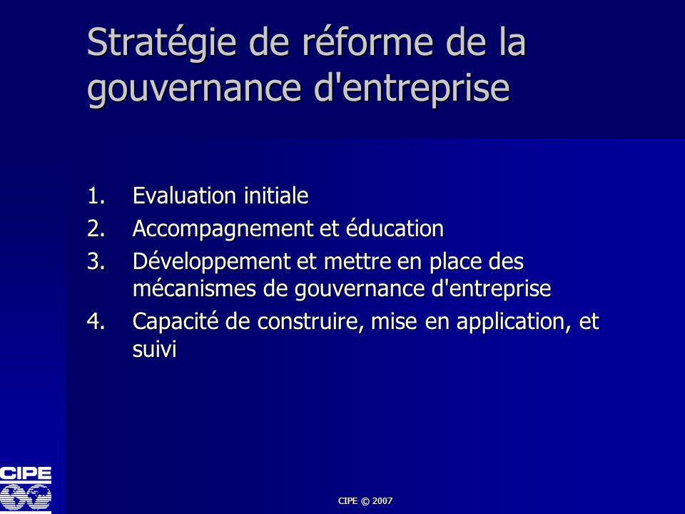 Stratégie de réforme de la gouvernance d entreprise