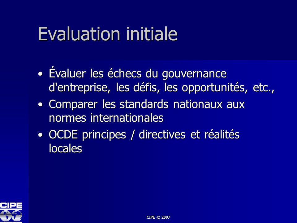 Evaluation initiale Évaluer les échecs du gouvernance d entreprise, les défis, les opportunités, etc.,