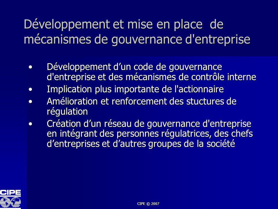 Développement et mise en place de mécanismes de gouvernance d entreprise