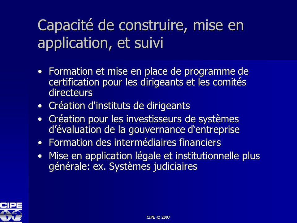 Capacité de construire, mise en application, et suivi