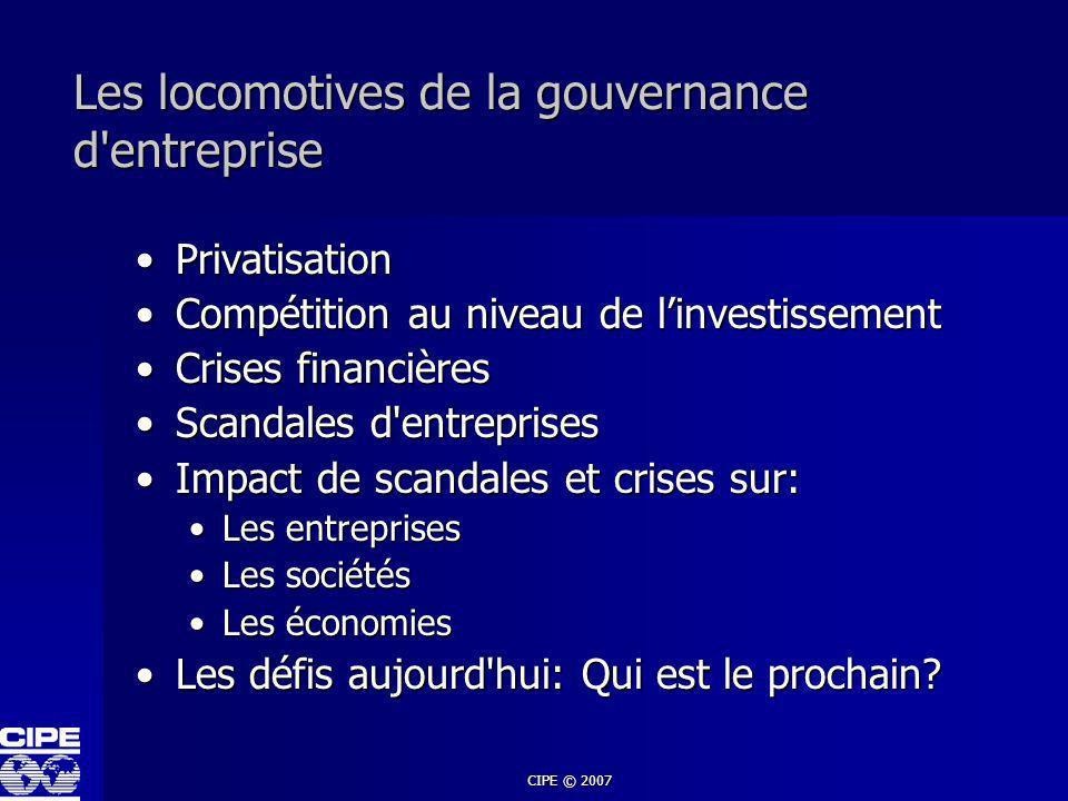 Les locomotives de la gouvernance d entreprise