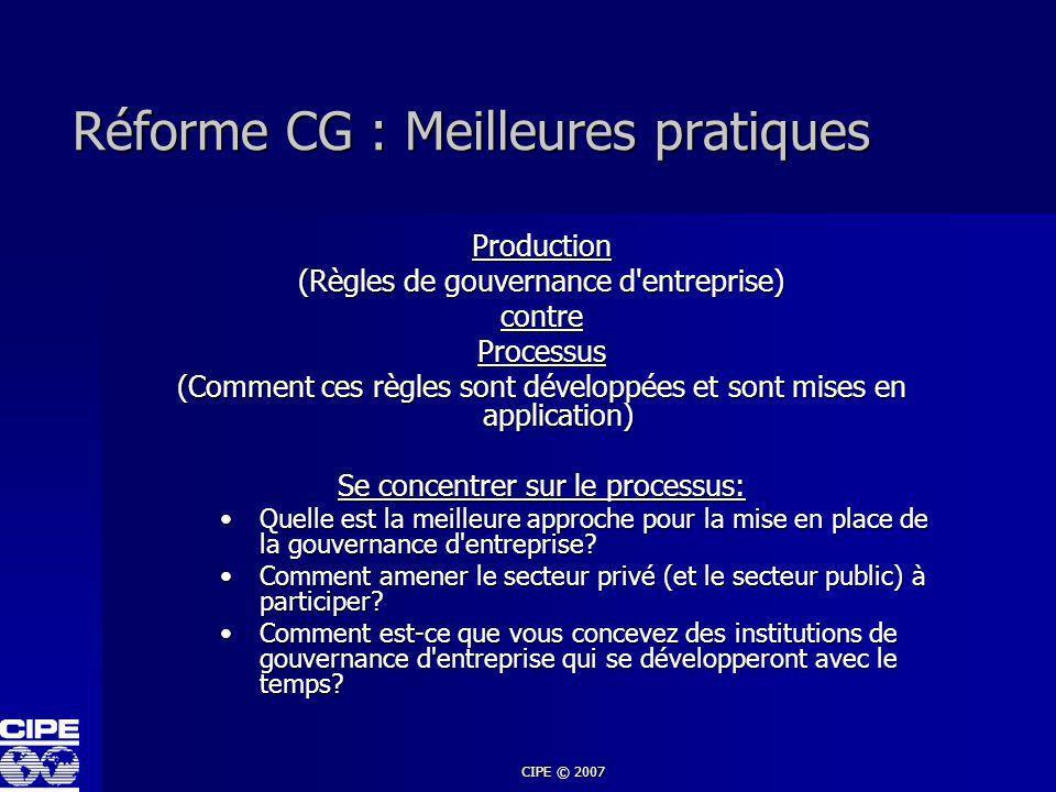 Réforme CG : Meilleures pratiques