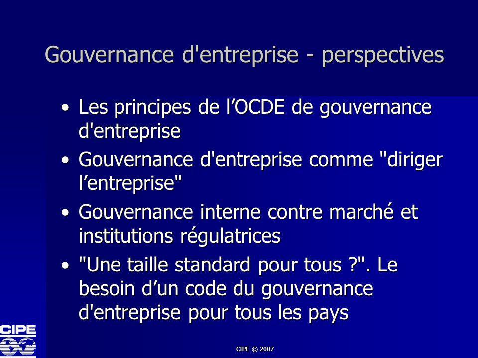Gouvernance d entreprise - perspectives