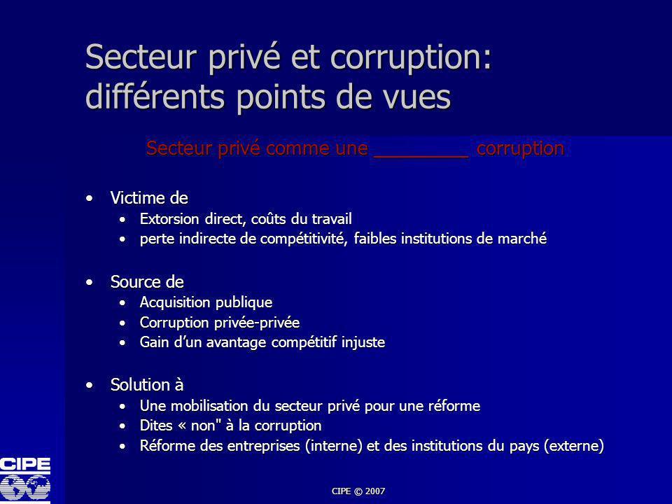 Secteur privé et corruption: différents points de vues