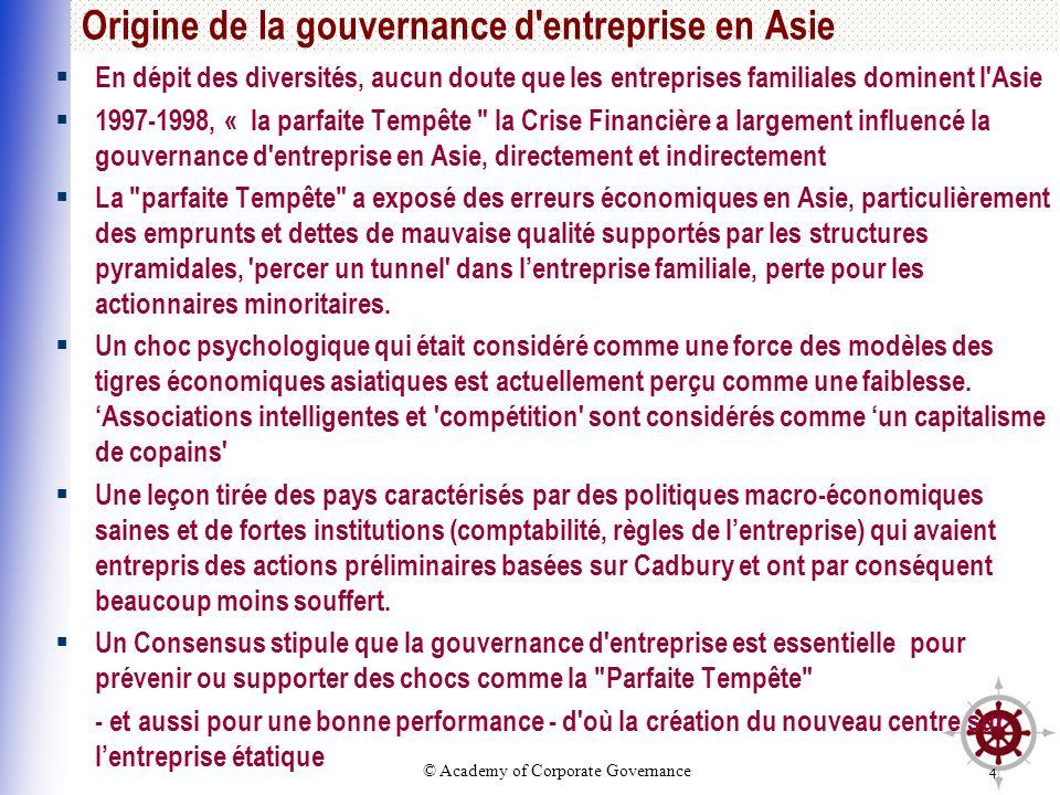 Origine de la gouvernance d entreprise en Asie