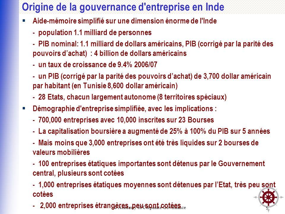 Origine de la gouvernance d entreprise en Inde