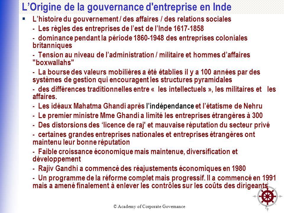 L'Origine de la gouvernance d entreprise en Inde